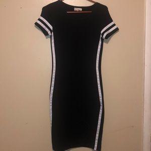Black crew neck dress with white stripes